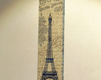 Vintage looking photograph Paris Exposition 1889 bookmark with Eiffel tower
