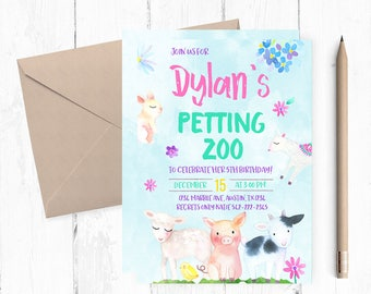 Petting Zoo Invitations, Farm Birthday Invitation, Farm Invitation, Farm Birthday themed Party, Petting Zoo invites, Petting zoo Birthday,