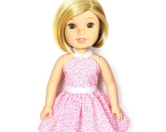 Halter Dress, Floral, Pink, White, 14.5, Fits dolls such as AG, Wellie Wishers, 14 inch Doll Clothes