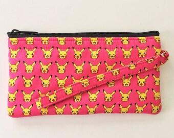 Pikachu Wristlet // Ready To Ship // Clutch // Pokemon Wallet