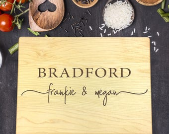 Custom Cutting Board, Custom Cutting Board Wedding, Custom Cutting Board Wood, Wedding Gift, Housewarming Gift, First and Last Name, B-0123