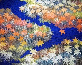337:Japanese vintage kimono obi sash  synthetic fiber gorgeous orange gold silver green blue maple embroidery