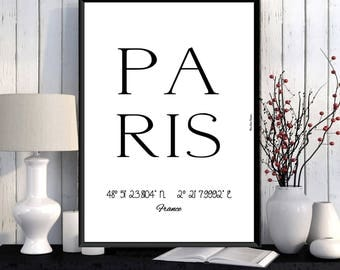 Paris Poster, Paris print, Wall decor, Office wall decor, Paris city print, City poster, Paris printable, Modern typography print, City art