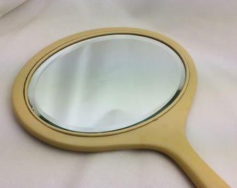 Antique Hand Mirror, Bakelite, Beveled Mirror