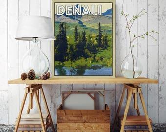 Denali National Park Poster, Gift for Him, Denali Travel Poster, Canvas Print, National Park Poster, National Park Poster Canvas, Alaska