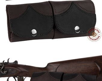 Leather Cartridge Holder, Dual Pocket Belt Cartridge Holder, Cartridge Wallet, Shell Pouch Shotgun Rifle Ammo 20ga