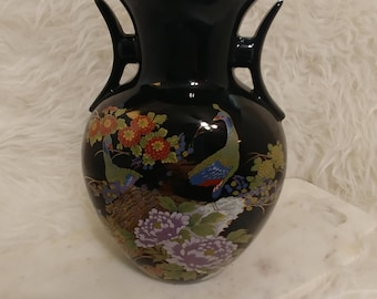 Vintage Japanese black kutani style vase, oriental decor, peacock, black Asian interior, made in Japan, large black vase