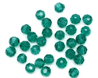 50 green Imperial glass 4mm faceted round beads