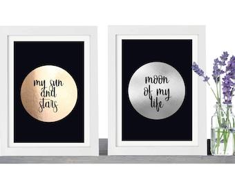 Set of 2 Game Of Thrones Print Daenerys Targaryen Khal Drogo - Game of Thrones Art My Sun And Stars Moon Of My Life Game of Thrones Gifts