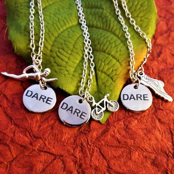 Runner Gifts, Running Triathlon Jewelry, DARE CrossFit Charm Necklace, Fitness Sports Marathon Gifts, Swimmer Biker Runner Gift, Word Charms