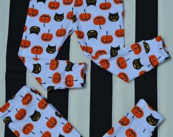 Halloween leggings, baby halloween leggings, pumpkin/cat leggings, leggings, jack o lantern leggings