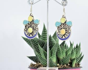 Tibetan ethnic earrings Butterfly ethnic Bohemian tribal yellow, earrings