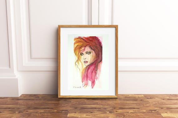 Woman face with red hair, contemporary painting, copy of author, gift idea for best friend, modern decore, wall art, home office decoration.
