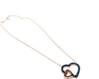 Women's Jewellery 925 Sterling Silver Necklace - Available Silver & Rose Gold heart Pendants. Gift Box Included, Birthday Gifts for Women