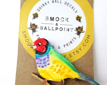 Rainbow finch, bird pin, bird brooch, Gouldian finch pin, rainbow bird, Mother's day gift, wearable art, wood bird brooch, colorful bird art