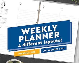 2017-2018 Printable Weekly Planner - Personal Size Planner Inserts PDF: Fits Filofax Personal, Kikki K Medium, Filofax Compact, 3.75 x 6.75