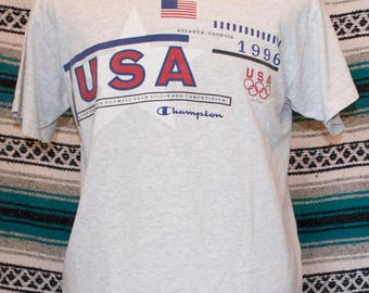 90s Champion USA 1996 Olympics Atlanta Shirt Gray Single Stitch L Large 100% Cotton