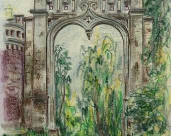 GATE OF HEAVEN (Side Door) by Jane Staffier*Colored Pencil*Fine Art Print*Gothic Arch**Home decor**Garden Arch*Gift*Gothic Architecture