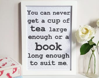 C S Lewis Quote Print - Tea Lover Gift - Bookshelf Decor - Literary Poster - Tea and Books Quote - Reading Nook Wall Art - Book Lover Gift