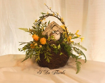 Bird Nest Centerpiece, Outdoors Wedding Centerpiece, Mother's Day Floral Decoration, Tabletop Decoration, Mothers Day Centerpiece