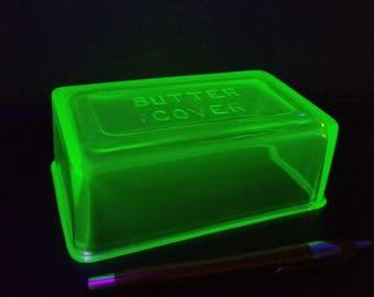 Uranium glass butter cover