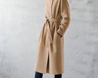 Camel wool coat / spring wool coat / woman autumn coat