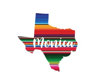Serape Texas Decal, rainbow ombre pattern, Mexican blanket, Vinyl decal,