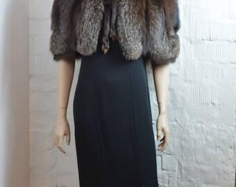 Vintage Fox Fur Stole Fox Fur Bolero Fox Cape Fox Shawl Silver Fox Fur Vintage 60 Fur Wrap Scarf Plush Black Grey Fur Wedding Shrug OS