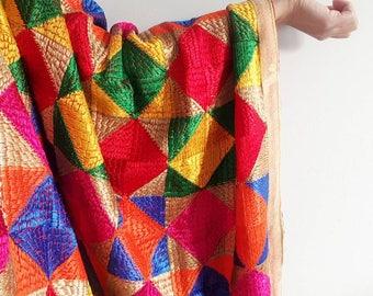 Vibrant Multicolour Phulkari - All Threadwork Traditional Fulkari for Mehndi Ceremony Phulkari Duppata, Multicolour Tapestry Indian Jewelry