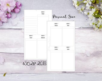 WO2P 2018 | Jan-Dec | Personal | Printed | Planner | Insert | Filofax | Kikkik | Week on two pages