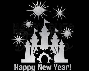 Disney Happy New Year Castle with Fireworks Cinderella Castle Mickey Mouse Minnie Mouse Matching Family Disney Iron On Decal Vinyl for Shirt