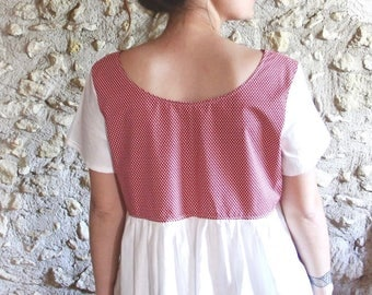 Retro red and white blouse with polka dots, pregnancy and backless blouse