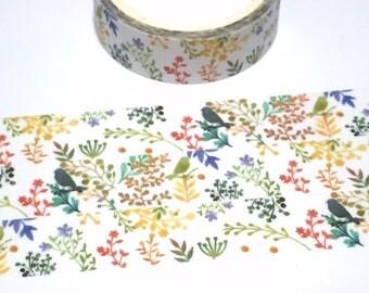 abstract bird Colorful forest washi tape 5M rich color bird Garden little bird flower garden deco tape sticker bird decor cute planner tape