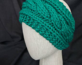 Teal Hand Knit, Cabled Headband; Large, Adult