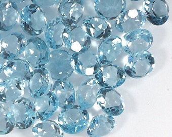 Genuine Sky Blue Topaz, 6 mm Round Faceted Cut Loose Gemstone, Natural Blue Topaz Gemstone, 5 pcs, Calibrated December Birthstone