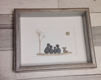 Pebble Art Family of Four with Dog ~ unique anniversary gift, retirement gift, housewarming gift, birthday gift, thoughtful gift, custom art