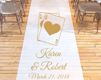 King and Queen Playing Cards Personalized Wedding Aisle Runner - Plain White Wedding Ceremony Aisle Runner - DGI22-A12