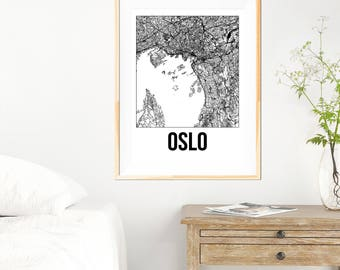 Oslo City Map Print - Black and White Minimalist City Map - Oslo Map - Oslo Art Print - Many Sizes/Colours Available