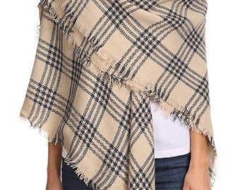 Beige Plaid Blanket Scarf