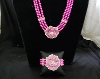 Pink Glass Pearl Rhinestone Enamel Flower Necklace Set #392