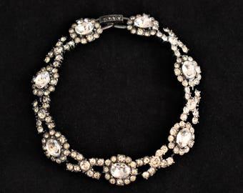 "Vintage Rhinestone Glam Statement Articulated Link Bracelet Retro Costume Estate Bride Bridal Jewelry 8"""