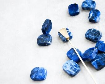Minimalist Hair Stick — Sodalite Gemstone Hair Pin | boho crystal blue stone hairpin | hammered hair stick | metal hair chopstick