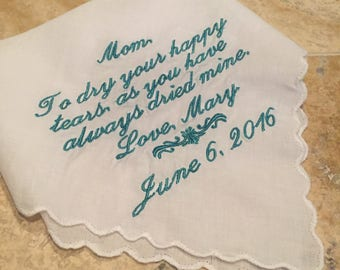 Mother of the Bride Handkercheif, Personalized Wedding Handkercheif, Happy Tears Wedding Handkercheif