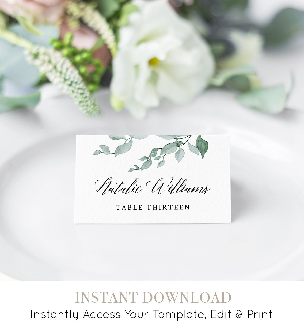 Printable Wedding Place Card Escort Card Template Name Card - Wedding name tag template