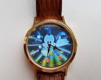Mickey Mouse Hologram Lorus Watch with Leather Band