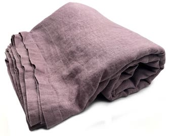"""XXXL allrounder bed cover plaid blanket with letter corners 100% Natural linen """"Stonewashed"""" 260 x 280 cm Lavender"""