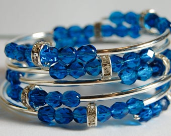 Silver and blue wrap bracelet