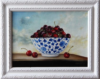 Still life with Cherries, Original oil painting framed, Cherries oil painting, Cherries art, Boba painting