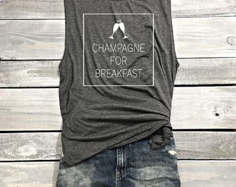 Champagne For Breakfast Muscle Tank, Gym Shirt, Funny Shirt, Workout Shirt, Beachbody Tank, Yoga Shirt Crossfit Shirt, Funny Workout Tank