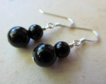 Jet Stone Earrings – Natural Stone Bead Earrings – Jet Black and Sterling Silver Earrings